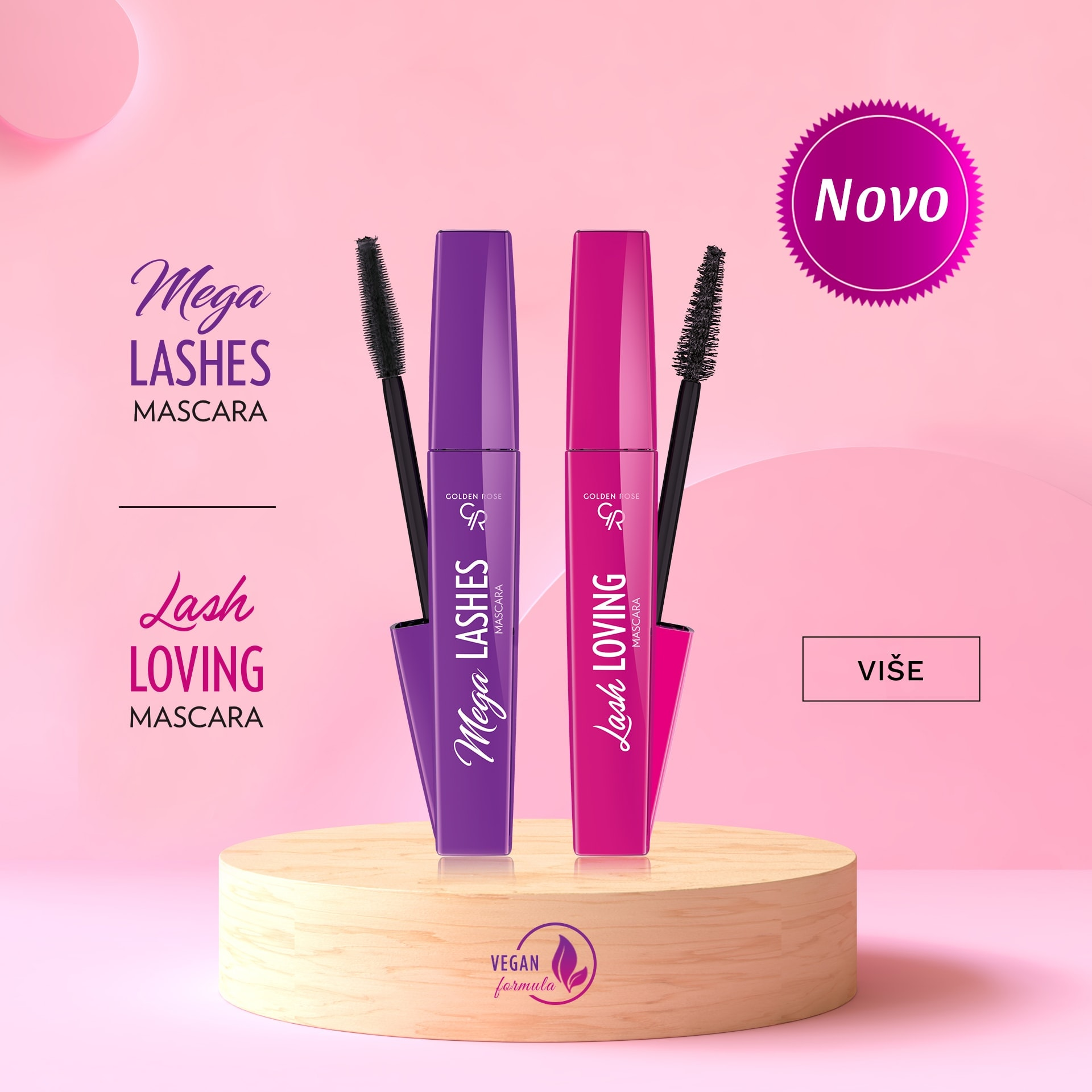Maskare za volumen i dužinu trepavica GOLDEN ROSE Mega Lashes and Lash Loving Mascara